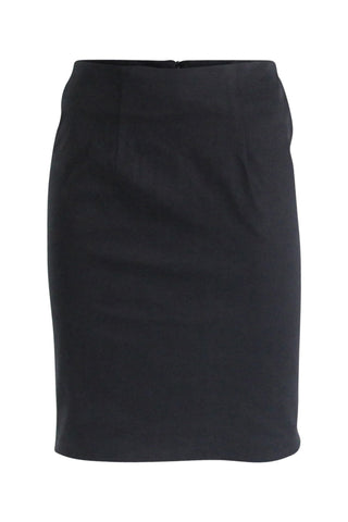 Black Peach Skin Pencil Skirt
