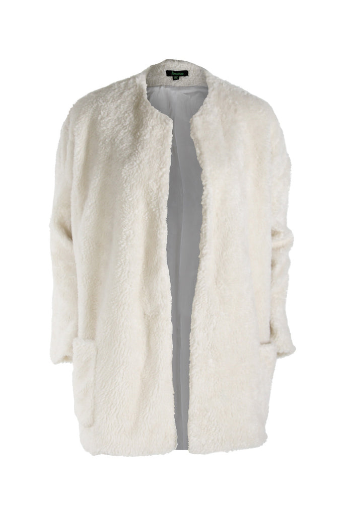 White Teddy Fleece Lab Coat