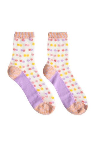 Sheer Dot Socks Lilac