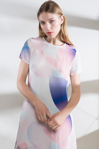 Gradient Splash Silk Shift Dress