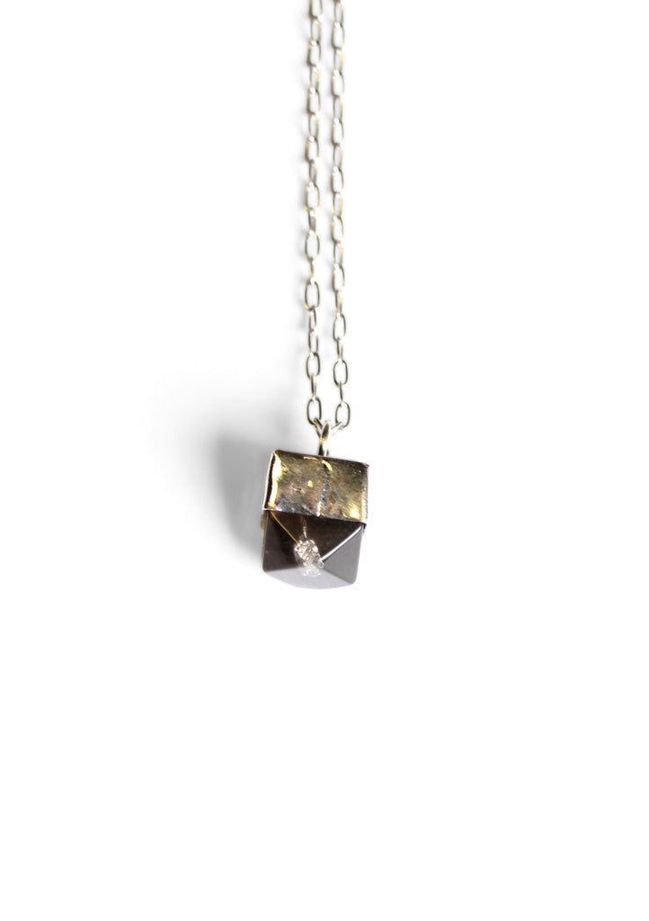 Metallic Mini Gem Necklace Black