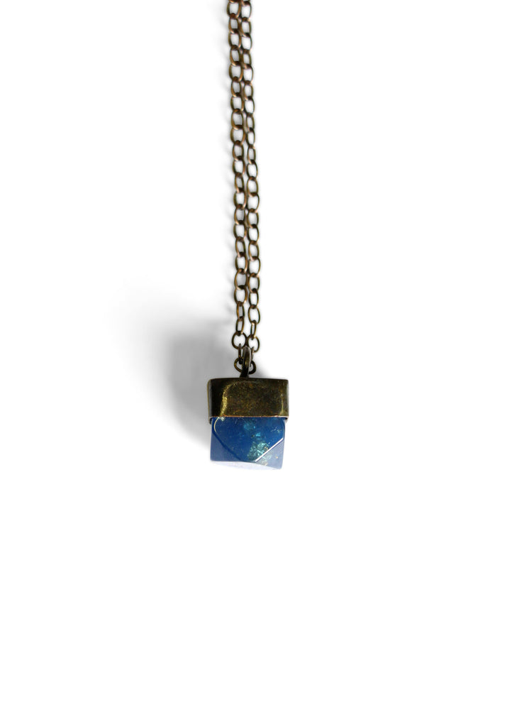 Metallic Mini Gem Necklace Blue