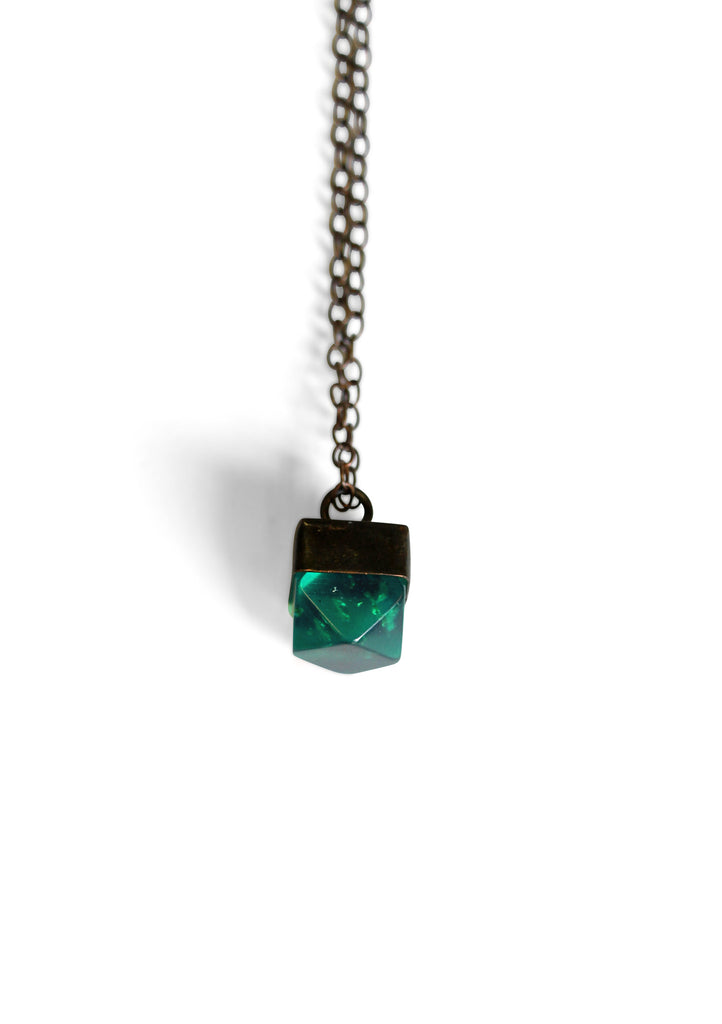 Metallic Mini Gem Necklace Emerald