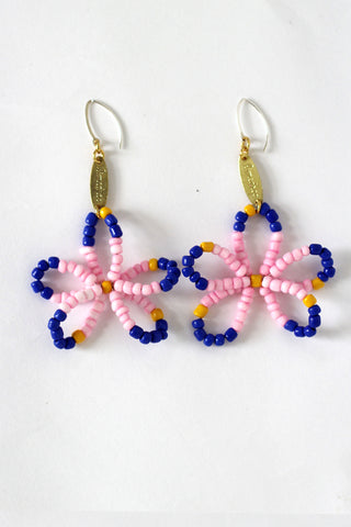 Pink Full Bloom Flower Earrings