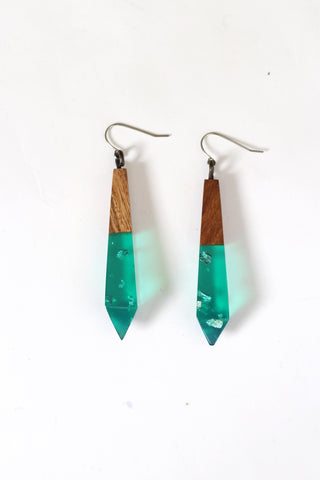 Emerald Metallic Drop Earrings