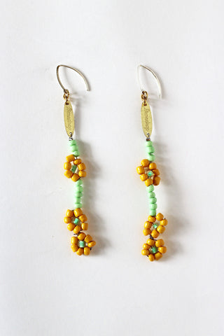 Lime Daisy Earrings