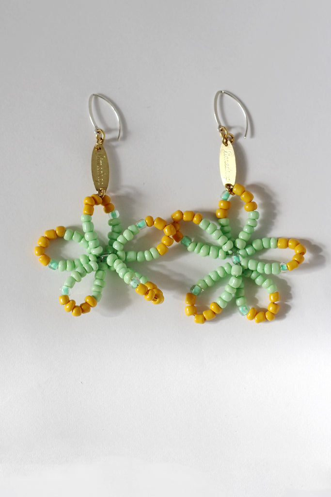 Lime Full Bloom Flower Earrings