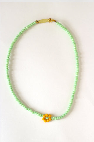 Single Lime Daisy Necklace