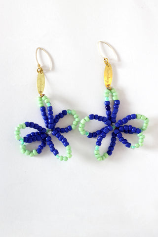 Blue Full Bloom Flower Earrings