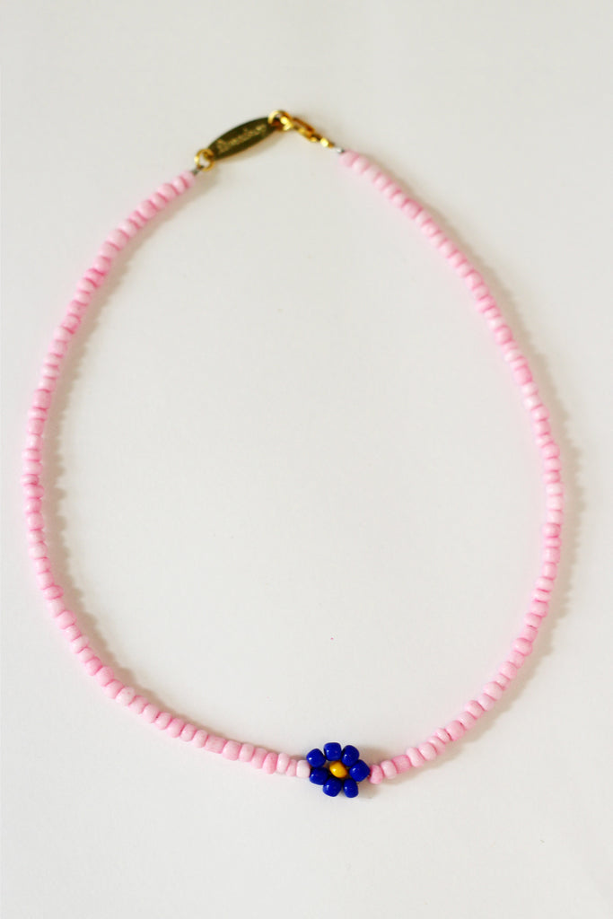 Single Pink Daisy Necklace