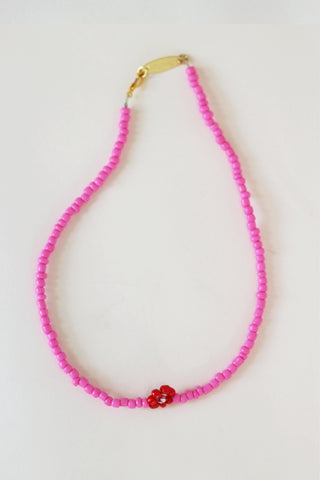 Single Red Daisy Necklace
