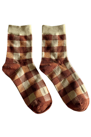 Red Check Gingham Socks