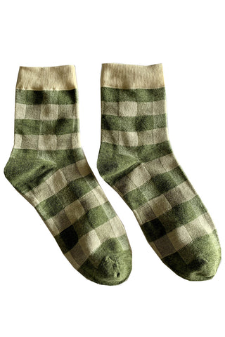 Green Check Gingham Socks