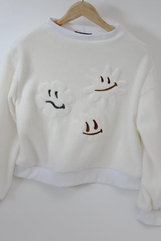 Smiley Flowers Fleece Jumper