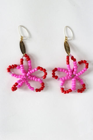 Red Full Bloom Flower Earrings