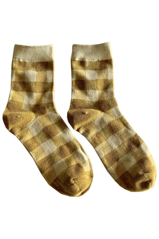 Yellow Check Gingham Socks