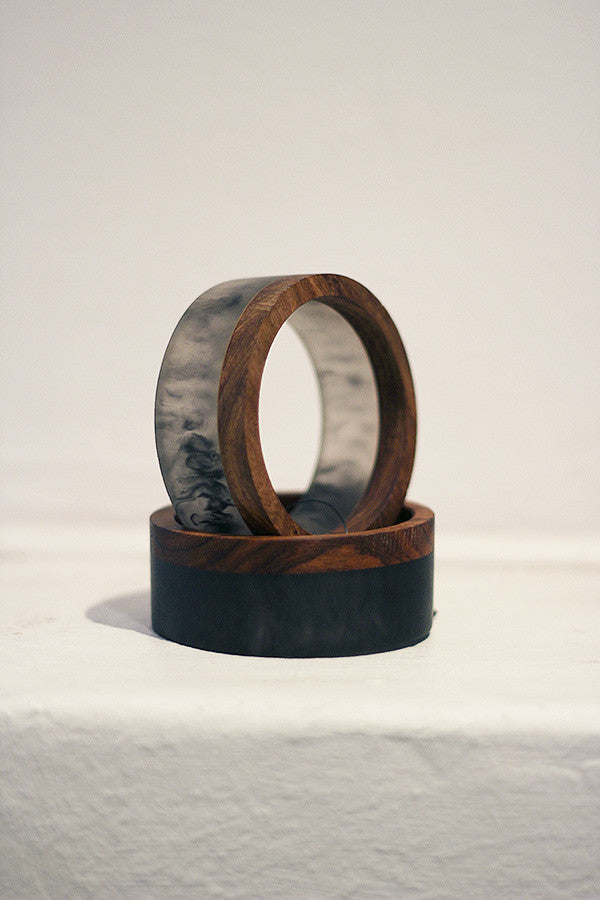 Resin & Rosewood Bangle GIFT PACK Black Marble