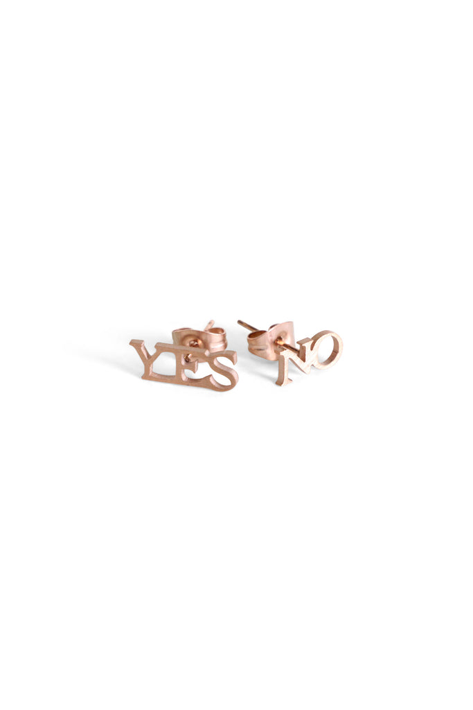 Rose Gold Yes/No Studs