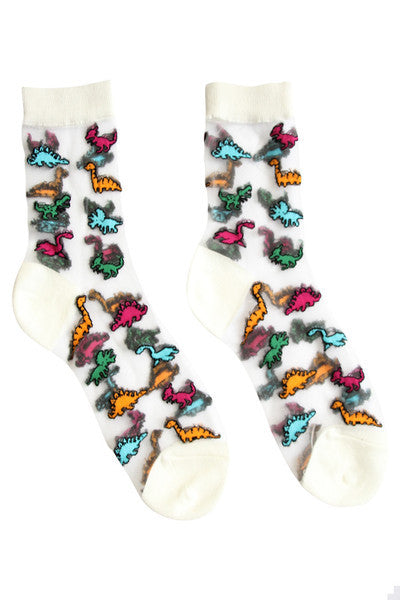 Sheer Dinosaur Socks White