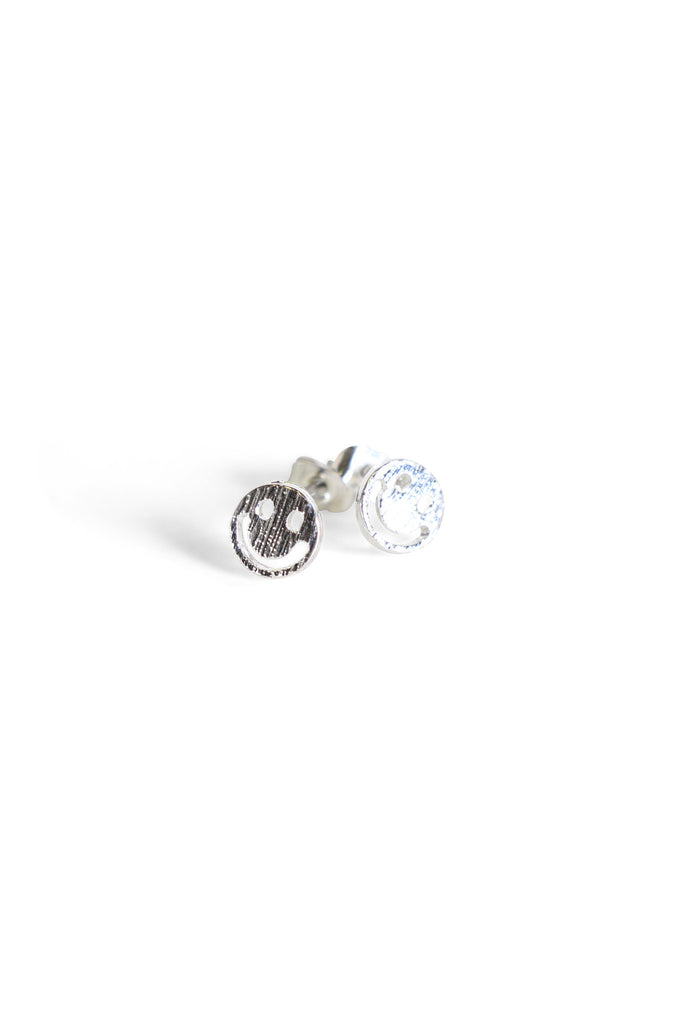 Silver Smiley Face Studs