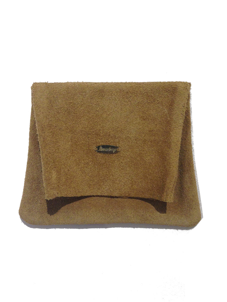 Suede Leather Pouch Tan Small