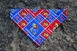 Jayhawk Bandana made with University of Kansas fabric