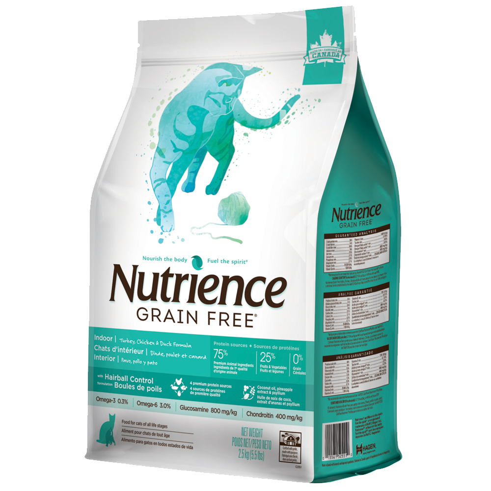Nutrience Grain Free Turkey Chicken & Duck - Indoor / Less Active / Hairball - Cat