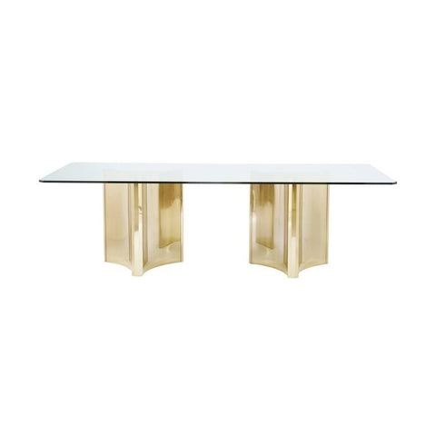 Bernhardt Abbot Metal Dining Table with Glass Top