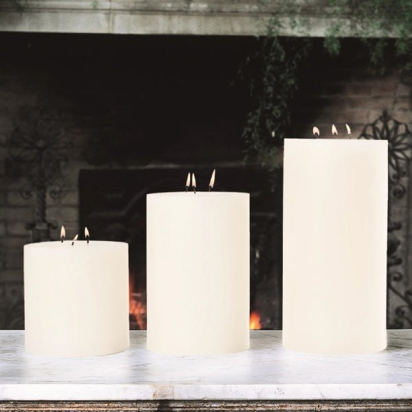Global Views 3 Wick Pillar Candle Unscented