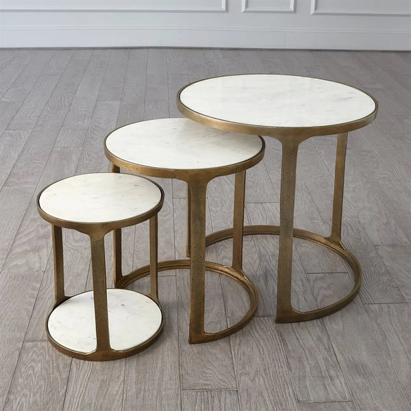 Global Views Marble Top Nesting Tables-Brass