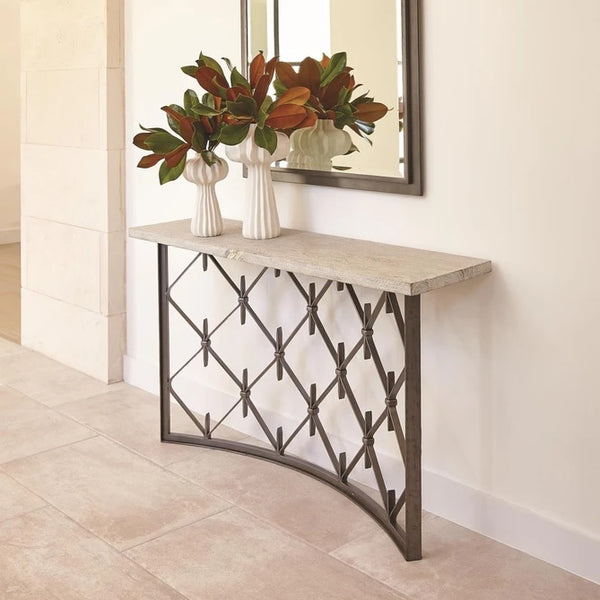 Global Views Sidney Console Natural Iron With Wood Plank Top