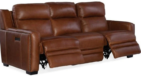 Hooker Furniture Living Room Lincoln Power Recline Sofa with Power Headrest and Lumbar Recline Brown