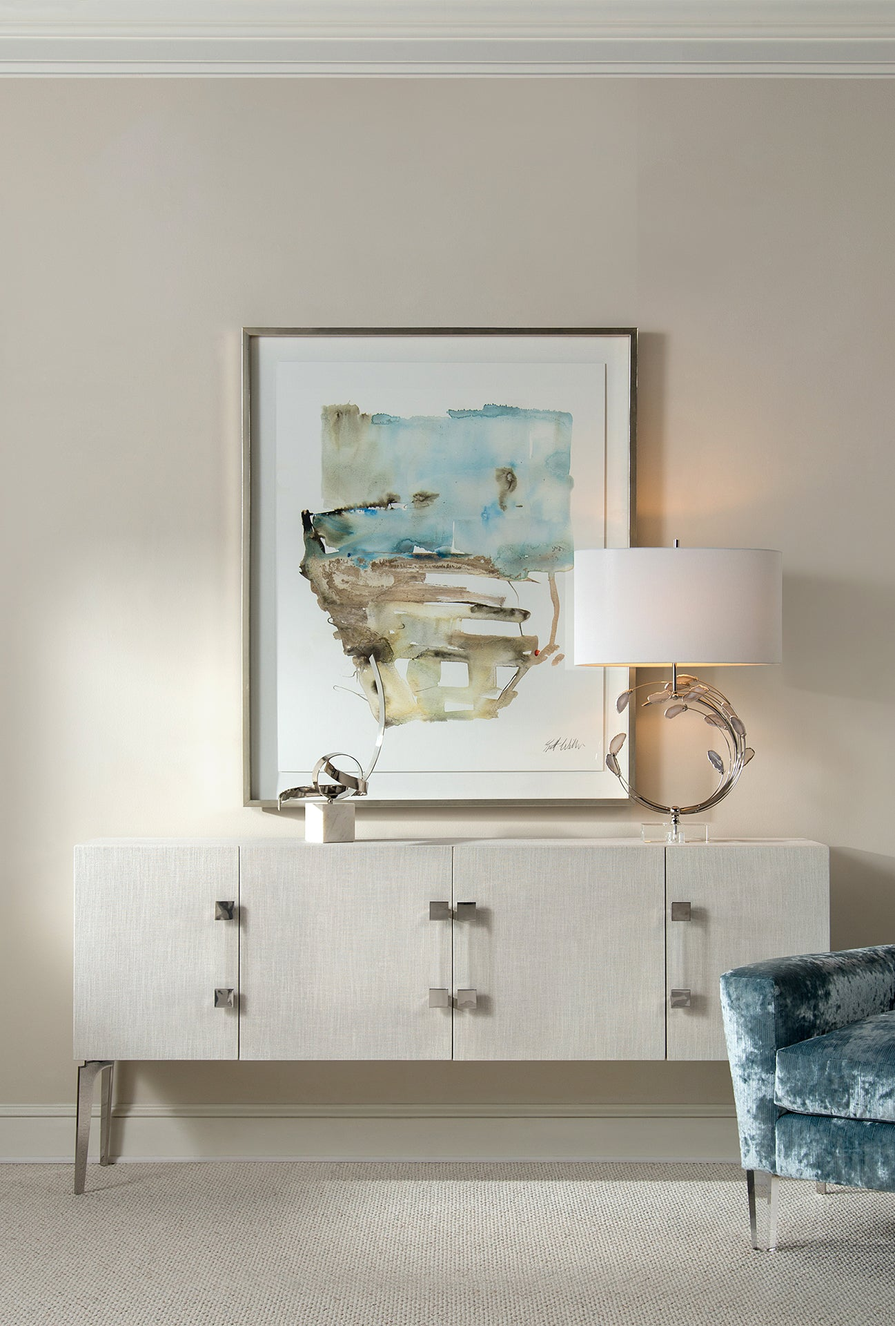John Richard Swirling Agates in Silver Table Lamp