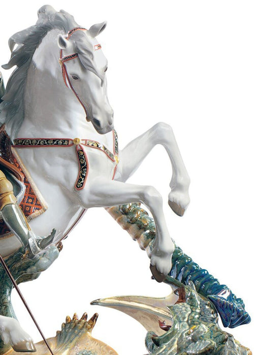 Lladro Saint George and the Dragon Sculpture - Limited Edition