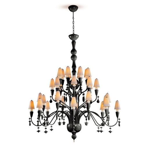 Lladro Ivy and Seed 32 Lights Chandelier Large Model - Absolute Black (US)