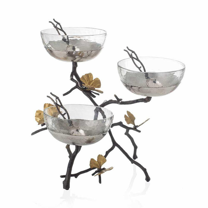 Michael Aram Butterfly Ginkgo Triple Bowl Set w/ Spoons