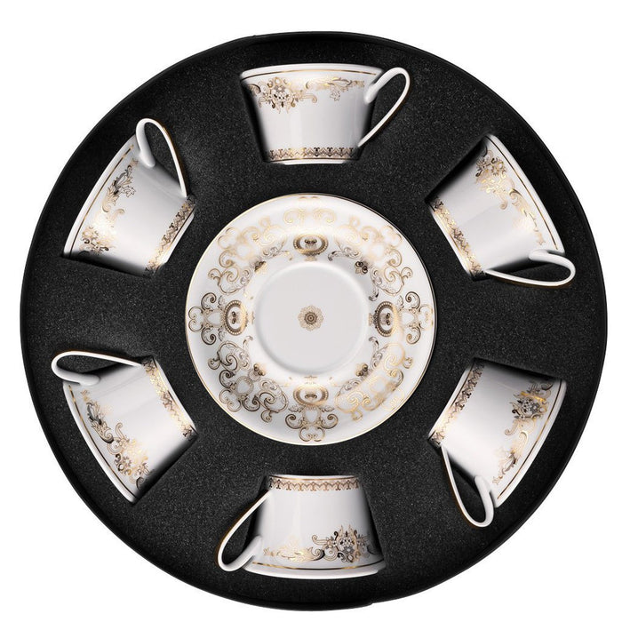 "Versace Medusa Gala - Tea Cup & Saucer Set/Six, Round ""Hat Box"" - 36"