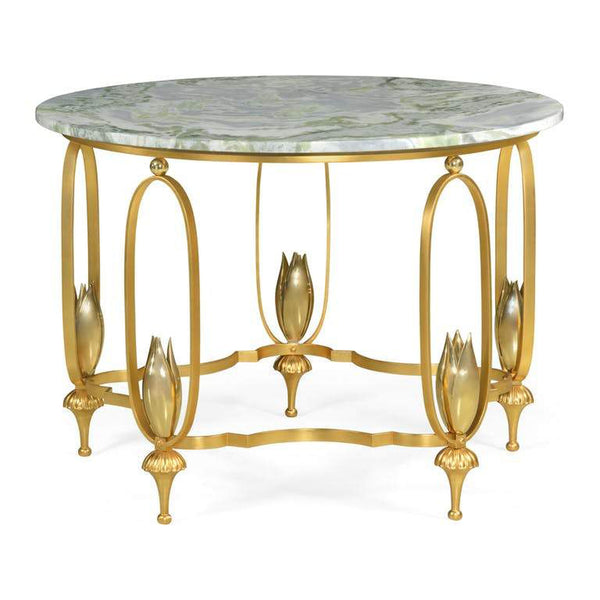 Green Marble Table with Brass Base