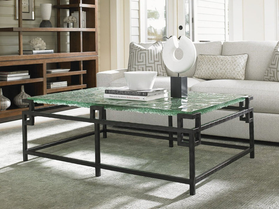 Tommy Bahama Home Island Fusion Hermes Reef Glass Top Cocktail Table