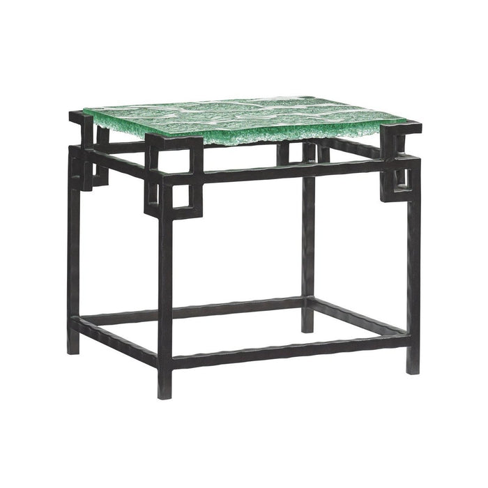 Tommy Bahama Home Island Fusion Hermes Reef Glass Top End Table