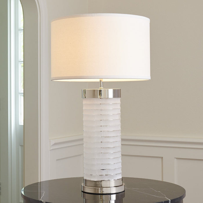 Global Views Chiseled Glass Lamp-Nickel