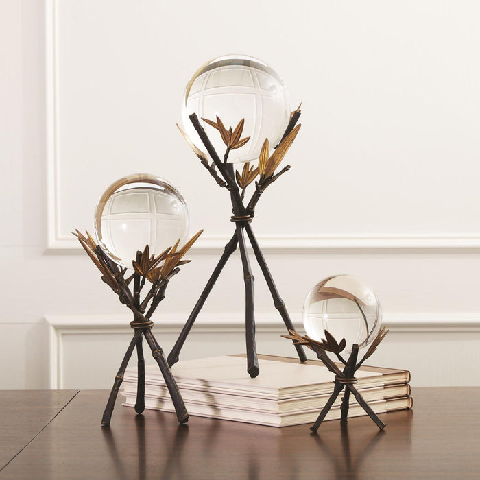 Global Views Bamboo Stand With Sphere Bronze