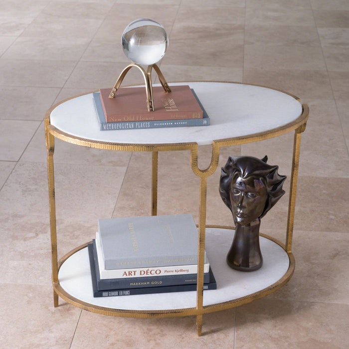Global Views Iron/Stone Side Table