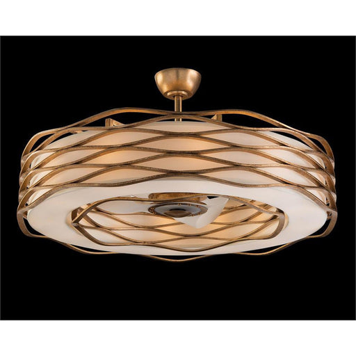 John Richard Ribbons of Gold Twelve-Light Pendant with Fan