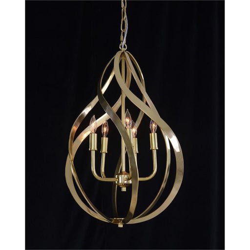 John Richard Ribbons of Brass Swirls Five-Light Pendant