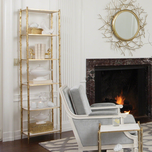Global Views Arbor Etagere-Brass/White Marble
