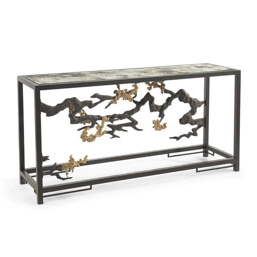 John Richard Sculpted Console Table in Antique Brass