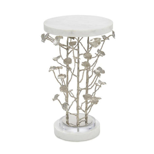 John Richard Marble and Brushed Nickel Branch Martini Table