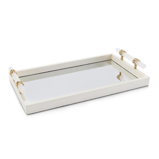 John Richard Mirrored Tray with Alabaster Handles