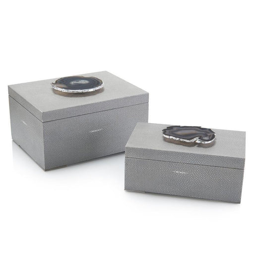 John Richard Set of Two Gray Shagreen and Geode Boxes